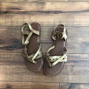 Toms Lexie Gold Metallic Suede Flat Strappy Sandal